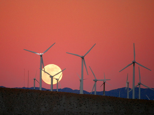 Moon Rise behind the San Gorgonio Pass Wind Farm. This is what we need on every farm and prairie, and made in our rust belt!Solar on every roof!