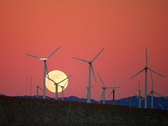 Moon Rise behind the San Gorgonio Pass Wind Farm (Caveman Chuck Coker) Tags: road moon snow tower weather electric horizontal creek high san wind farm low pass generator oil electricity hawt government rotation blade coal dust rise expensive pressure turbine axis scam gorgonio sangorgonio taxcredit sangorgoniopass megawatt subsidies kartpostal surcharge mycameraneverlies absolutelystunningscapes