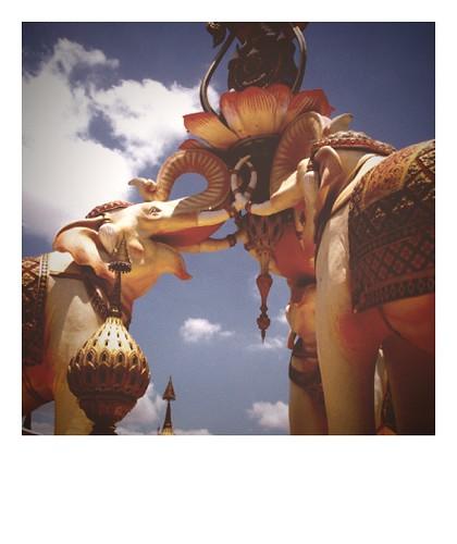 Elephant statue from Bangkok. Fauxlaroid-ed.