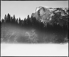 Low mist at Half dome | Yosemite National Park 2009 CA USA (ART SRISAK | PHOTOGRAPHY) Tags: california bw mamiya film mediumformat yosemite delta100 monart 123bw autaut rb67pros filmforward ilfoard