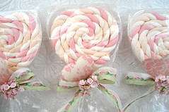 Valentine Marshmallow Heart Pops (such pretty things) Tags: pink flowers party wallpaper holiday green floral vintage candy heart pastel valentine marshmallows bow target sweets ribbon lollipop valentinesday favors entertaining millinery forgetmenots shabbychic