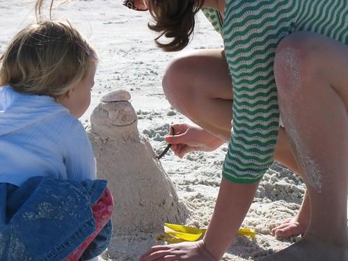 smiley beach snowman