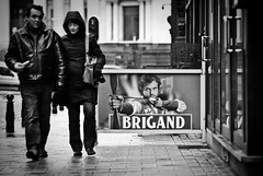 CuPicon (janbat) Tags: street people bw beer nikon couple belgique 85mm bruxelles nb d200 nikkor f18 rue publicit personne bire picon brigand cupidon jbaudebert upcoming:event=1502250