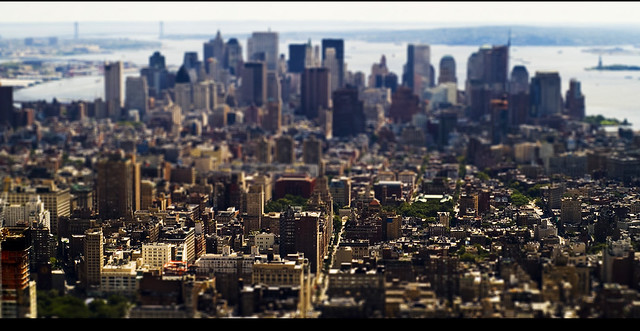 Manhattan desde el Empire State in Tilt Shift