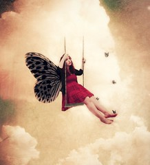 Day 171 - Days swiftly come and go I'm dreaming of her. She's seeing other guys Emotions they stir (miriness) Tags: portrait sky cloud girl clouds wow butterfly surreal floating swing gravity unreal 365days barophobia miriness definggravity