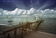 Bophut Pier (- Virgonc -) Tags: ocean wood travel blue sea sky cloud cold ice water clouds ir thailand island pier am nikon ship harbour map d70s explore ko samui infrared straight koh geotag bophut infra maped geotaged i virgonc wwwvirgonccom
