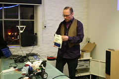 Dorkbot Bristol: Mike with ZX80 (anachrocomputer) Tags: bristol dorkbot sinclair zx80 dorkbotbristol pervasivemediastudio