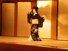 Geisha Dance; Kurokami; : Mamehiro;  (Nullumayulife) Tags: old pink red portrait woman brown white cute art beautiful beauty japan female silver asian real japanese gold photo dance mujer kyoto noir femme traditional famous mulher picture exotic geiko geisha kawaii bonita  belle   nippon kimono gion kansai 2009 japon giappone nihon  katsura  japao japons       japanisch  japonaise   kurokami     japanishe mamehiro