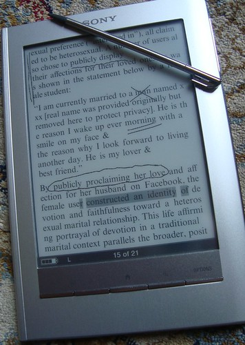 Edits shown on Sony Ereader screen