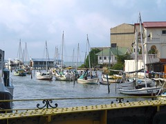 Haulover Creek (NigelDurrant) Tags: ocean bridge sea water architecture sailboat buildings river boats boat iron belize sail mast belizecity masts vessels centralamerica moored swingingbridge anawesomeshot haulovercreek