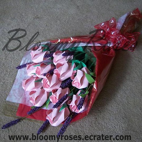 Pink Origami Rose Bouquet