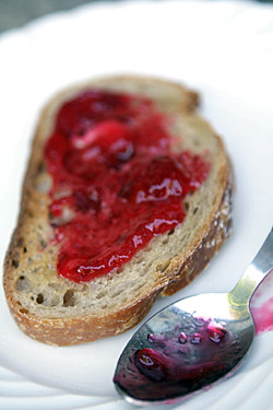 red currant jam on toast
