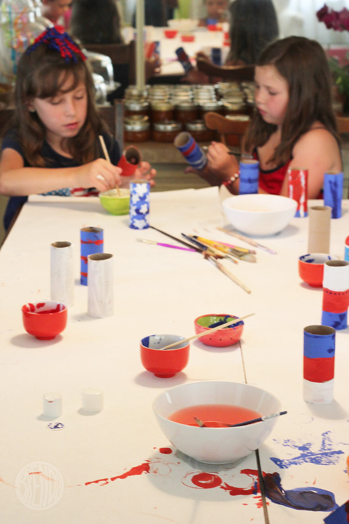 girls painting for patriotic craft