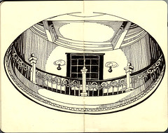 Courthouse Rotunda (susanrudat) Tags: blackandwhite art moleskine sketching sketchbook courthouse rotunda sanmarcostexas
