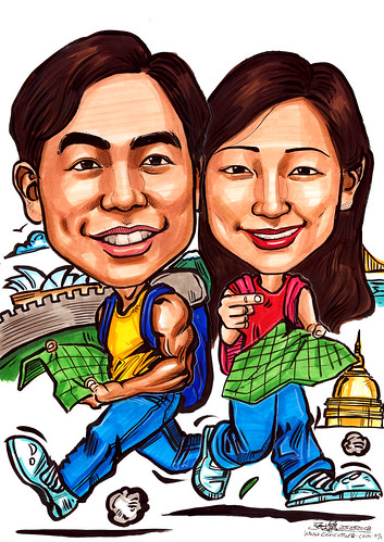 Caricatures couple travel