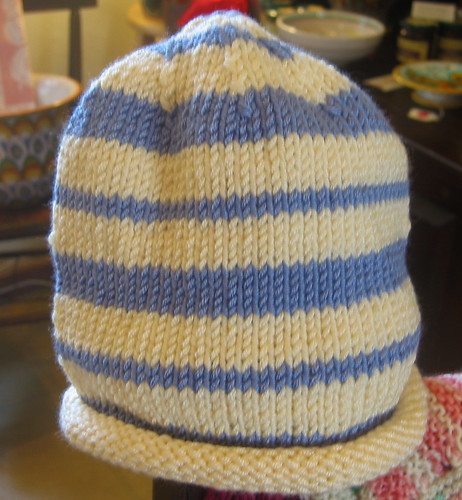 Blue and white baby hat