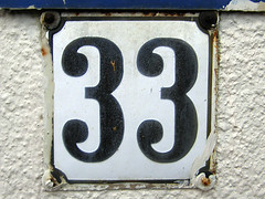 33 (Eva the Weaver) Tags: sign vintage natural 33 deluxe parking number numbers positive digits palindrome enamel numerals siffror integers