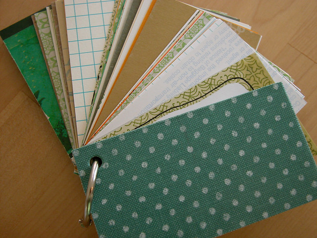 Itty Bitty Recycle Bin Book - White polka dots on turquoise. Upcycled from discarded book covers and various paper scraps.