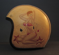 Leather helmet - Casino Girl Pinup (Marius Mellebye / 276ccm) Tags: red art girl leather silver cards star ace helmet babe oldschool tommy bikini blonde pinup airbrush dames pinupgirl 50s mariusmellebye 276ccm casinogirl