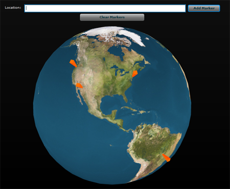 Drawlogic as3 geocode with flex papervision3d tutorial and it uses yahoo maps to get the latlong and then has a globe that you can add markers onto gumiabroncs
