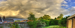 Dutch Skies (Christiaan Leever NL) Tags: sunset autostitch panorama cloud holland dutch grass garden evening weed backyard mine raw hdr 8photos