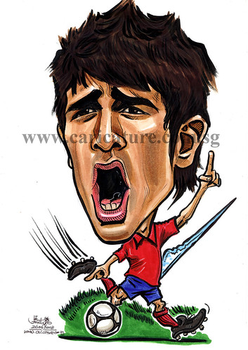 Caricature of David Villa colour watermark