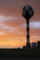 Billings Water Tower (C. Doak) Tags: sunset clouds montana watertower checkered billings billingsmt