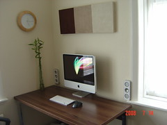 My Desk *old* (Jonathan Cox) Tags: camera wallpaper white plant green art clock apple window glass metal wall bar port silver menu logo mouse stand dock mac keyboard imac bright time screensaver desk osx battery applemac picture pad samsung cable icon screen bamboo clean leopard revolution usb pixel mounted sound button speaker workspace microphone wireless workstation setup walls isight 20 bluetooth simple 2008 mx mydesk charge generation speakers scroll basic flurry aluminium logitech firewire desksetup cleandesk z4i imacsetup imacworkspace amacsetup simplemacsetup