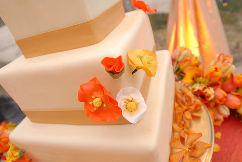 White Chocolate covering with sugar flowers