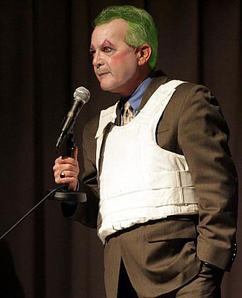 Gilly the Clown was laughed at when he wore a<br />bullet proof vest to a Long Beach college debate. (Photo at ALIPAC)