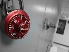 the lonely red locker. (carpartsbottlescutlery,) Tags: school red bw black color art metal silver painting photography dial hallway master locker numbers locks exit bcc