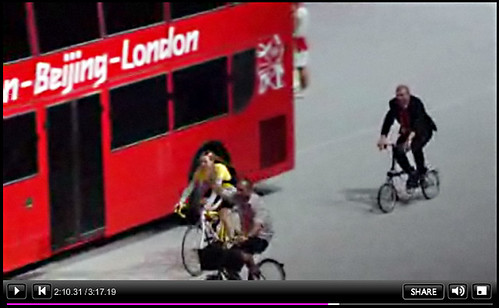 Chris Hoy on Brompton Bike - Olympic Handover Ceremony - BBC Screengrab