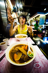 Beef Noodles (TGKW) Tags: boy portrait people food man hongkong restaurant eating beef chinese steam chopsticks noodles wilson wong mongkok yuk