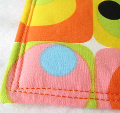 Retro quilted Coasters (Set Carré) Tags: pink orange yellow modern square quilt handmade sewing craft retro fabric cotton modular quilting 70s quilted 1970 etsy patchwork coaster alexandrehenry setcarre etsyq