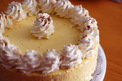 White Chocolate Egg Nog Mousse Cake.