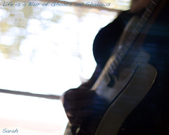 Life is a Blur of Ghosts and Shadows (that edit girl) Tags: windows 50mm bokeh sp blinds layers electricguitar fgr kramerguitar fakealbumcover randomghostimage