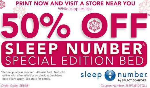 Sleep Number Coupons website view A good night's sleep is essential to your overall health and well-being. The problem is that the mattress that makes a good night's sleep for you isn't necessarily what would make a good night's sleep for your partner.