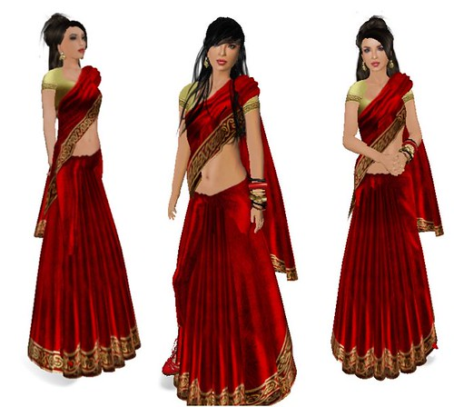 Moran Singh in her red sari