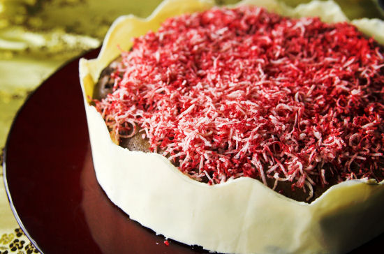 Cherry coconut mud cake
