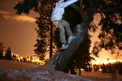 Tesing 1, 2, 3. (fank209) Tags: seattle snow tree night snowboarding lights riding snowboard westseattle westy treeride westseattlegolfcourse