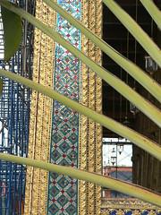 Leaves and detail (Sparky the Neon Cat) Tags: plant thailand leaf asia bangkok pillar siamese grand palace thai column wat siam maha thep phra kaew nakhon krung