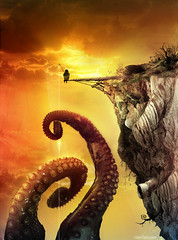 The fisherman of giant octopus (Rolan´s Version) (RolanGonzalez) Tags: sunset fisherman surreal octopus