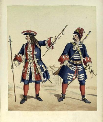 023-Regimientos de guardias de infanteria española y Valona. oficial y granadero años 1710 a 1718