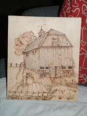 Wood Burning barn (Rea Family) Tags: wood color work hand carve made burn
