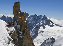 Pinnacle (woolyboy) Tags: people snow france mountains ice rock altitude montblanc pinnacle aiguilledumidi