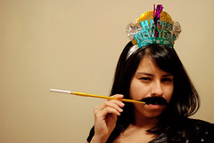 Lucy. (Vitaliy P.) Tags: new party portrait hat drunk 50mm lucy nikon cigarette smoking alcohol moustaches years mustache holder d80 vitaliyp