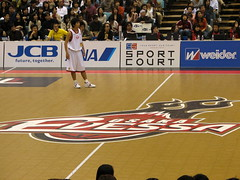 Osaka Evessa Logo at Center Court in Namihaya Dome - Kadoma, Osaka, Japan (glazaro) Tags: city basketball japan japanese asia stadium arena dome  osaka sendai kansai kadoma namihaya bjleague evessa 89ers