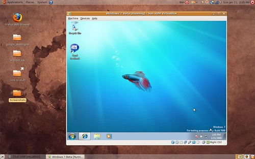 Windows 7 up and running on Ububtu 8.10 via VirtualBox