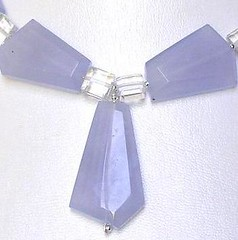 Blue chalcedony in a necklace with rock crystal quartz