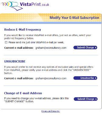 VistaPrint unsubscribe options